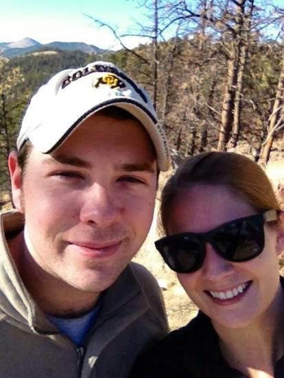The hubby and I hiking in Boulder in January 2013.
