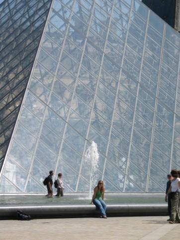 Enjoying a beautiful day outside the Louvre Museum.