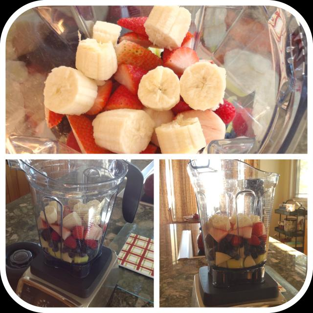 Layer the fruit into the blender first, starting with the harder fruits on the bottom.