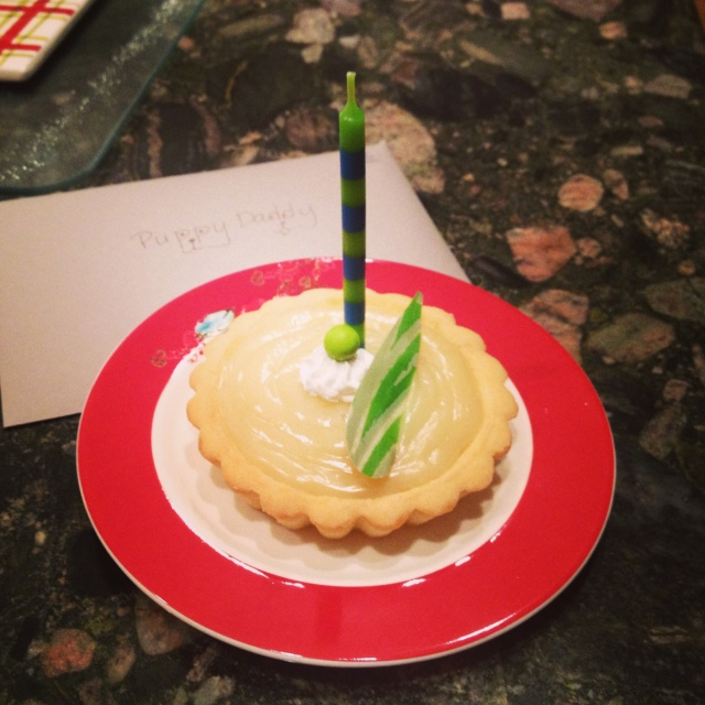 The almost ruined Key Lime Pie (or tart in this case) birthday surprise.  Phew!