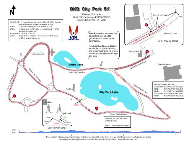 The course for the 5/10K around Denver's City Park.