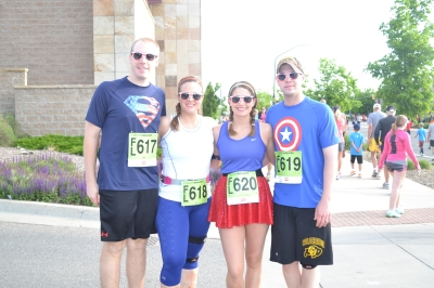 Before starting the BolderBOULDER, on the way to our start wave!