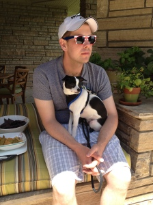 My boys chillin' outside - still rockin' the shades.