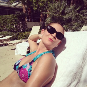 Catching some rays at the Aria pool! Shortly before submerging myself in the delightfully cold water.