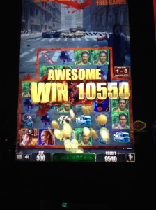 Yup, that's right, we WON in Vegas!  All thanks to the Walking Dead slot machines.