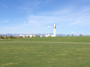 Great views of the mountains and the old Stapleton Airport control tower to the west.