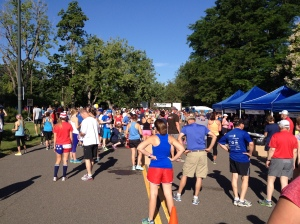 Pre-chicken dance race line up.  Gotta love that red, white and blue!