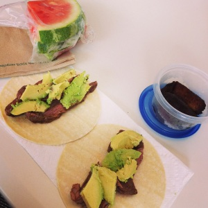Lunch on the cleanse: homemade fajitas, avacado, corn tortillas, and watermelon!