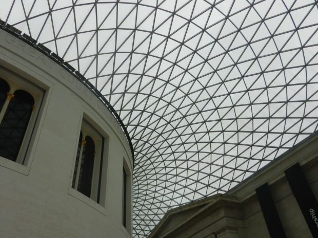 Glass ceiling surrounding the round reading room.