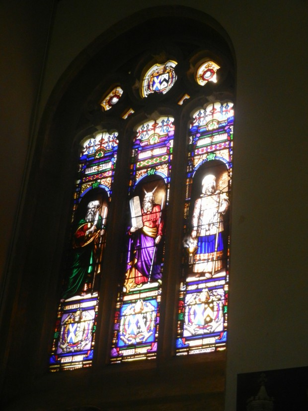 Stained glass windows in the Wadham College chapel.