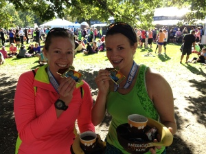 Christie and Carrie couldn't decide which was better: medals or chocolate mug?