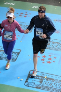 Sprinting together towards the finish line!  I love it!