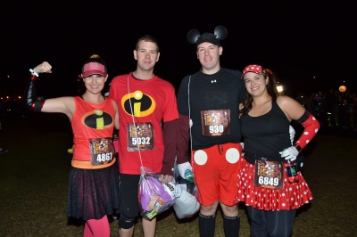 The hubs and I as Mr. and Mrs. Incredible, and Samantha and her hubby as Mickey and Minnie!