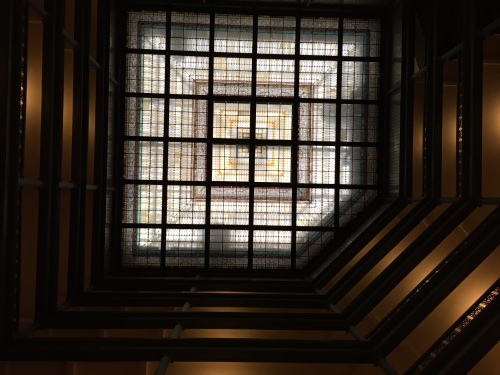 If you haven't been to the Brown Palace in Denver, go on a sunny day, stand in the middle and look up.  The stained glass ceiling is breathtaking.